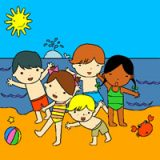 Children on the Beach Coloring